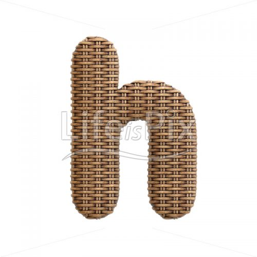 wicker font H – Small 3d character – Royalty free stock photos, illustrations and 3d letters fonts