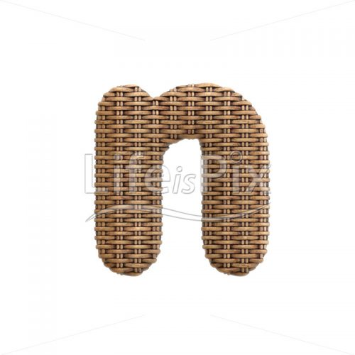 wicker font N – Lower-case 3d character – Royalty free stock photos, illustrations and 3d letters fonts