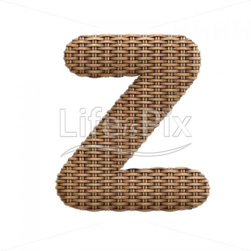 wicker font Z – Capital 3d character – Royalty free stock photos, illustrations and 3d letters fonts