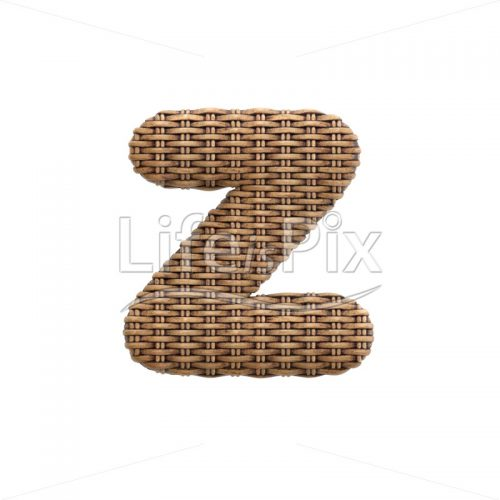 wicker font Z – Small 3d letter – Royalty free stock photos, illustrations and 3d letters fonts