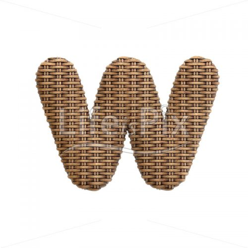 wicker letter W – lowercase 3d font – Royalty free stock photos, illustrations and 3d letters fonts