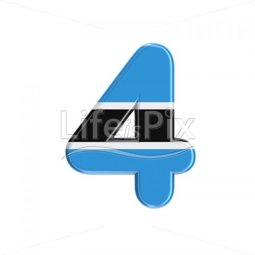 Batswana digit 4 –  3d numeral – Royalty free stock photos, illustrations and 3d letters fonts