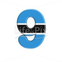 Batswana digit 9 –  3d numeral – Royalty free stock photos, illustrations and 3d letters fonts