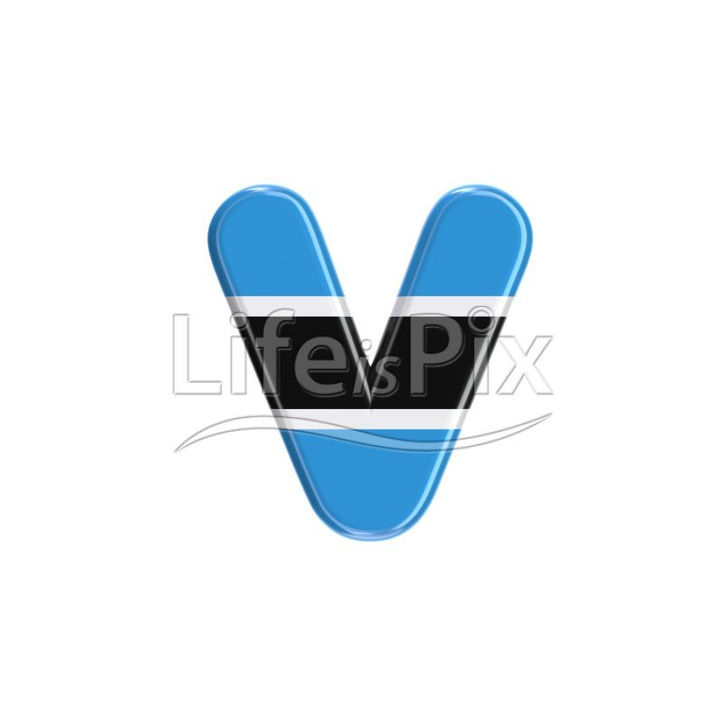 Batswana letter V – Lowercase 3d character – Royalty free stock photos, illustrations and 3d letters fonts