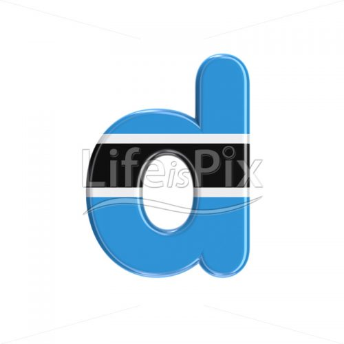 Botswana flag font D – Small 3d character – Royalty free stock photos, illustrations and 3d letters fonts