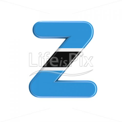 Botswana flag font Z – Capital 3d character – Royalty free stock photos, illustrations and 3d letters fonts