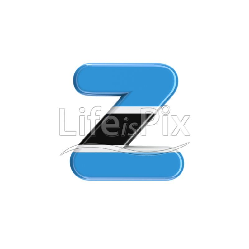Botswana flag font Z – Small 3d letter – Royalty free stock photos, illustrations and 3d letters fonts