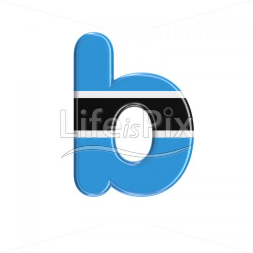 Botswana flag letter B – Small 3d font – Royalty free stock photos, illustrations and 3d letters fonts