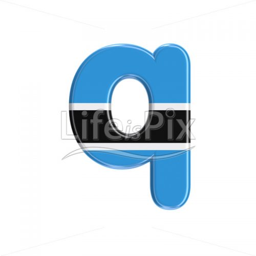 Botswana flag letter Q – Small 3d character – Royalty free stock photos, illustrations and 3d letters fonts