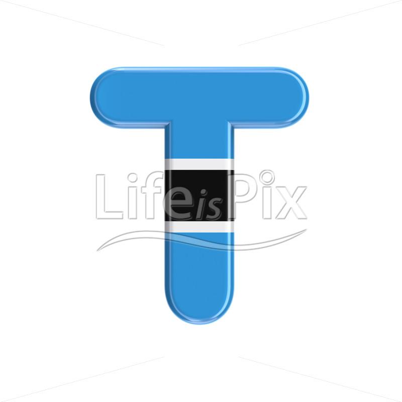 Botswana flag letter T - Capital 3d font