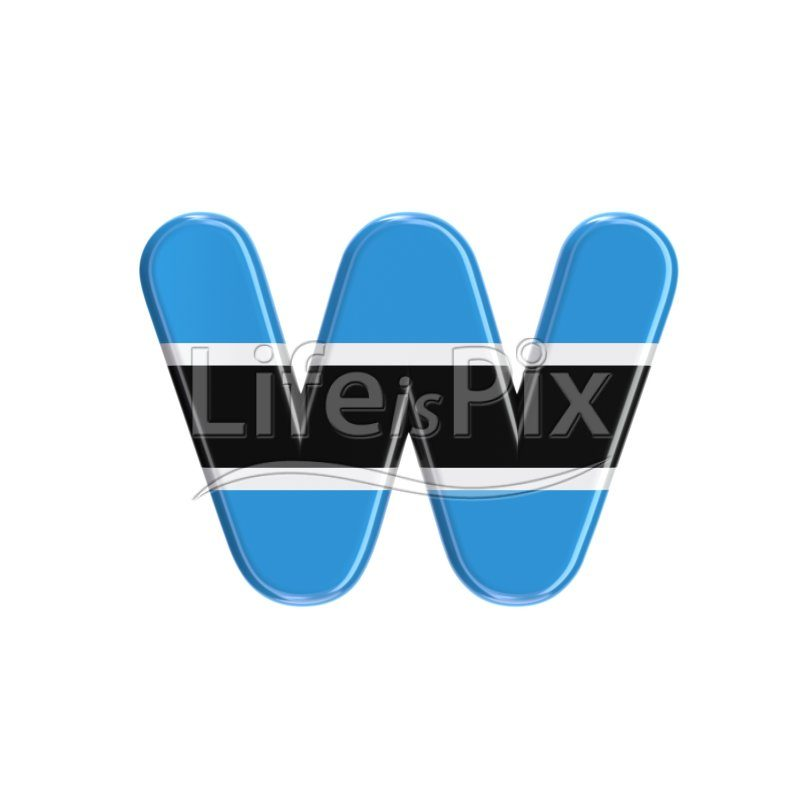 Botswana flag letter W – lowercase 3d font – Royalty free stock photos, illustrations and 3d letters fonts