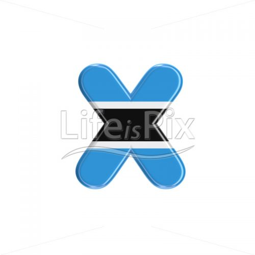 Botswana flag letter X – Lower-case 3d character – Royalty free stock photos, illustrations and 3d letters fonts