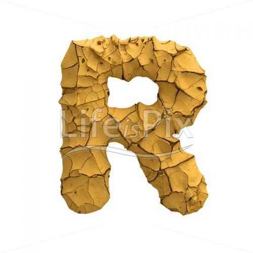 Soil clay letter R – Capital 3d character – Royalty free stock photos, illustrations and 3d letters fonts