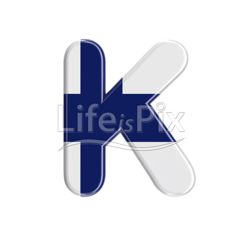 Finland  letter K – Large 3d character – Royalty free stock photos, illustrations and 3d letters fonts