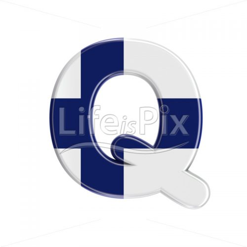 Finland  letter Q – large 3d letter – Royalty free stock photos, illustrations and 3d letters fonts
