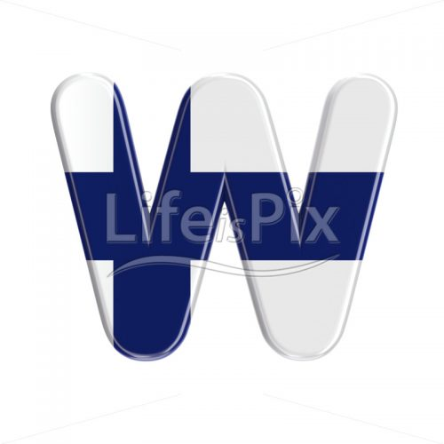 Finland  letter W – Uppercase 3d character – Royalty free stock photos, illustrations and 3d letters fonts