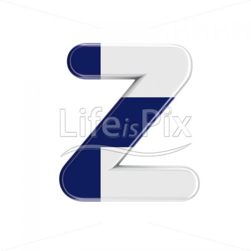 Flag of Finland font Z – Capital 3d character – Royalty free stock photos, illustrations and 3d letters fonts