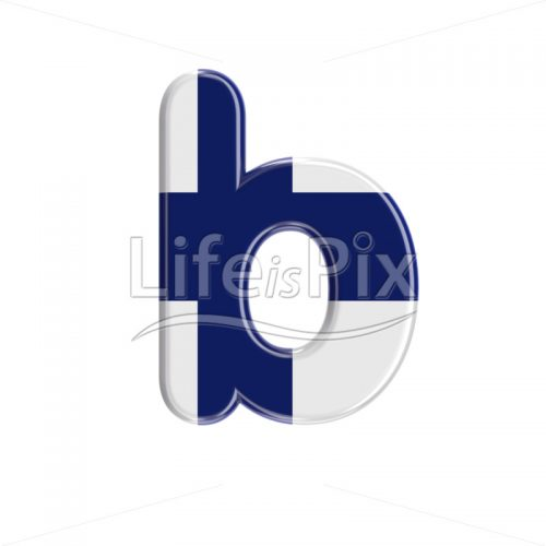 Flag of Finland letter B – Small 3d font – Royalty free stock photos, illustrations and 3d letters fonts