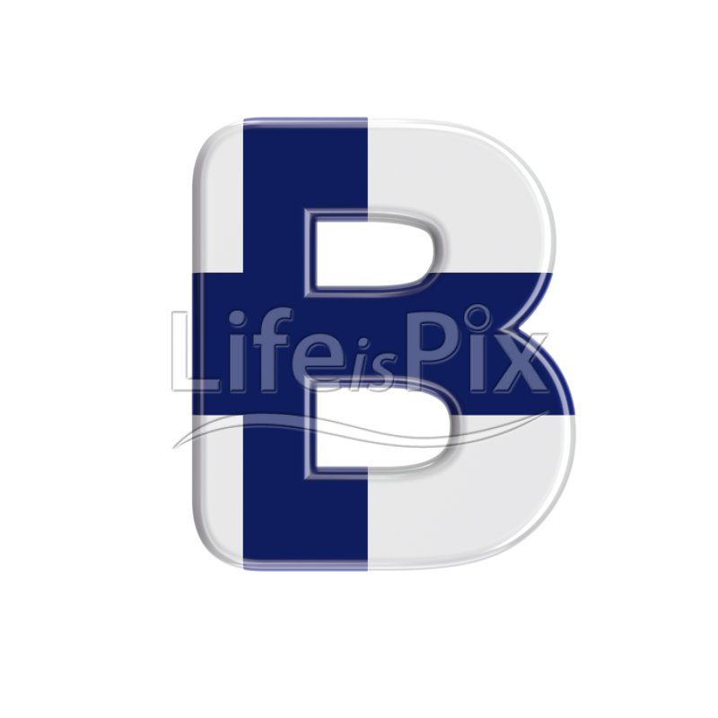 Flag of Finland letter B – large 3d character – Royalty free stock photos, illustrations and 3d letters fonts