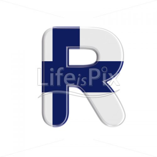 Flag of Finland letter R – Capital 3d character – Royalty free stock photos, illustrations and 3d letters fonts