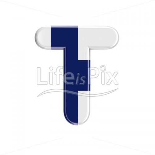 Flag of Finland letter T – Capital 3d font – Royalty free stock photos, illustrations and 3d letters fonts