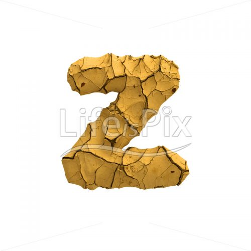 Soil clay font Z – Small 3d letter – Royalty free stock photos, illustrations and 3d letters fonts