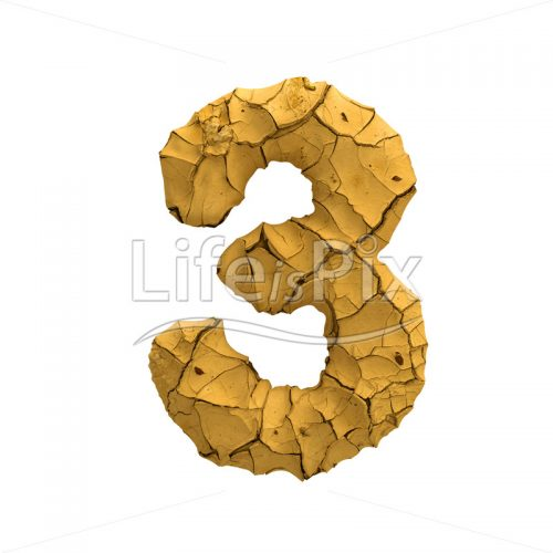 cracked ground digit 3 –  3d numeral – Royalty free stock photos, illustrations and 3d letters fonts