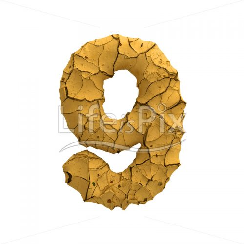 cracked ground digit 9 –  3d numeral - Royalty free stock photos, illustrations and 3d letters fonts