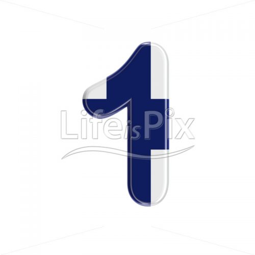 Finnish digit 1 –  3d numeral – Royalty free stock photos, illustrations and 3d letters fonts