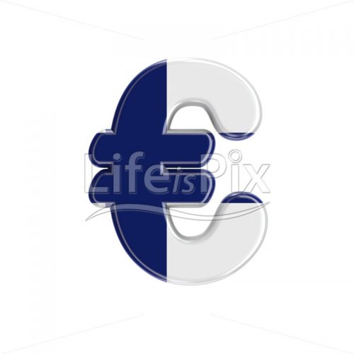 Finnish euro currency symbol – 3d Currency symbol – Royalty free stock photos, illustrations and 3d letters fonts