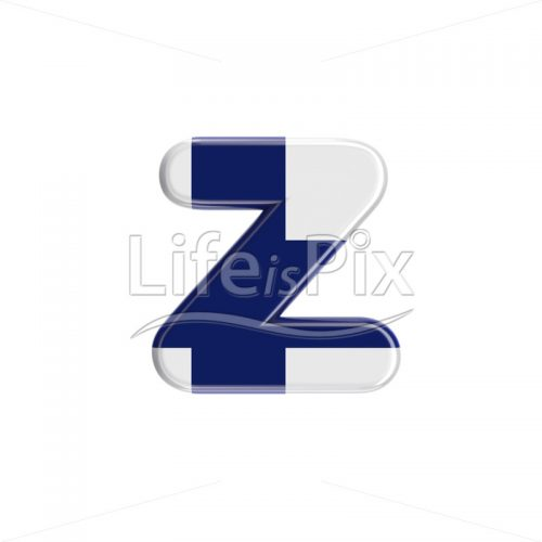 Flag of Finland font Z – Small 3d letter – Royalty free stock photos, illustrations and 3d letters fonts