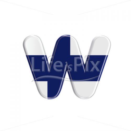 Flag of Finland letter W – lowercase 3d font – Royalty free stock photos, illustrations and 3d letters fonts