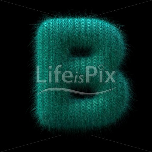 wool letter B – large 3d character – Royalty free stock photos, illustrations and 3d letters fonts