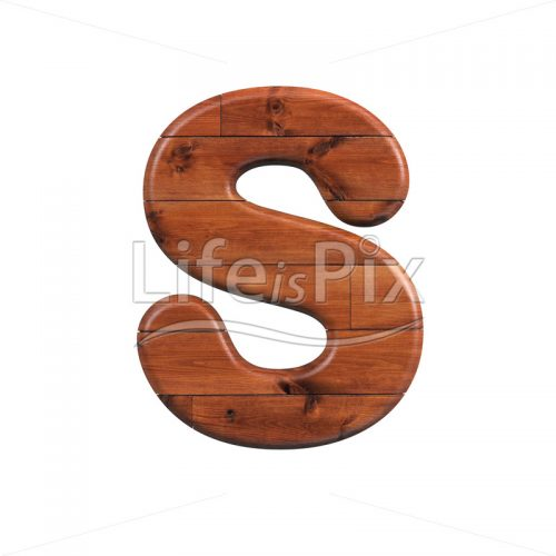 Wooden parquet letter S – Capital 3d character – Royalty free stock photos, illustrations and 3d letters fonts