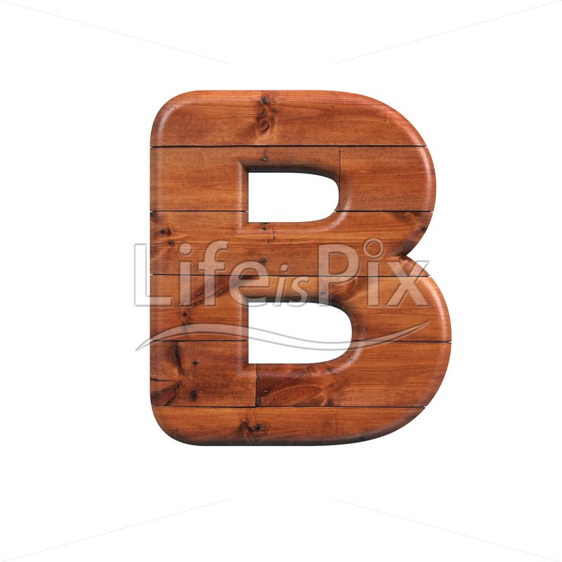 wood letter B – large 3d character – Royalty free stock photos, illustrations and 3d letters fonts
