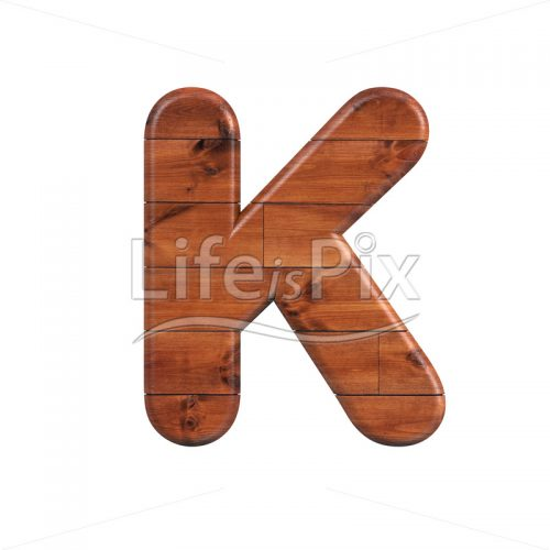wood letter K – Large 3d character – Royalty free stock photos, illustrations and 3d letters fonts