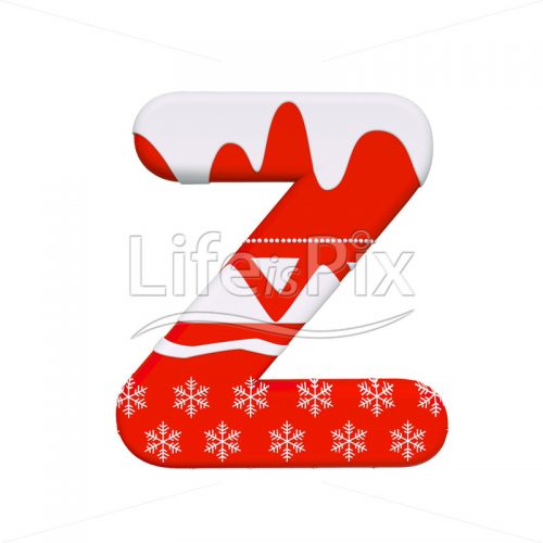 Christmas font Z – Capital 3d character – Royalty free stock photos, illustrations and 3d letters fonts