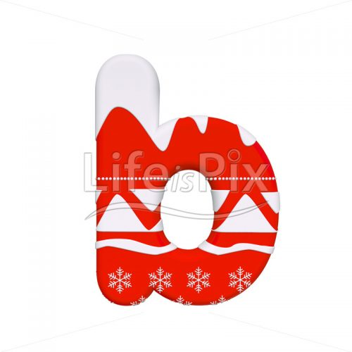 Christmas letter B – Small 3d font – Royalty free stock photos, illustrations and 3d letters fonts