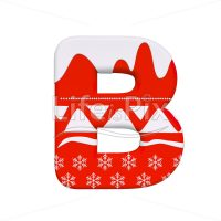 Christmas letter B – large 3d character – Royalty free stock photos, illustrations and 3d letters fonts