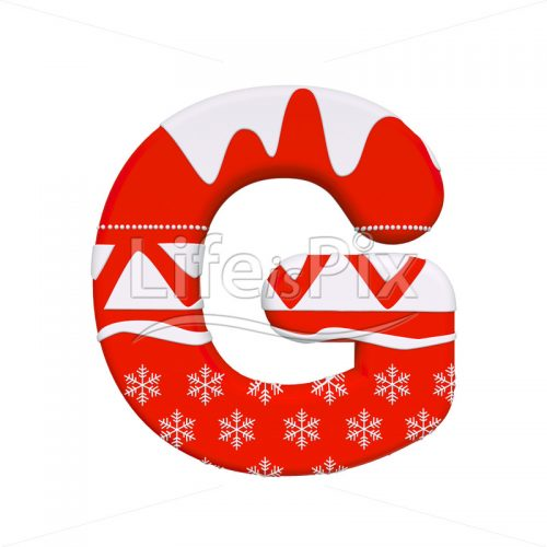 Christmas letter G – large 3d letter – Royalty free stock photos, illustrations and 3d letters fonts