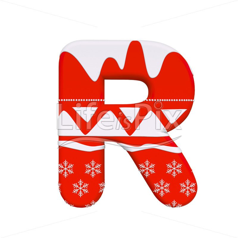 Christmas Letters.Christmas Letter R 3d Capital Font On White Background
