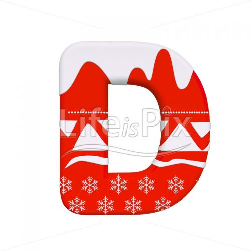 Santa Claus letter D – Uppercase 3d letter – Royalty free stock photos, illustrations and 3d letters fonts