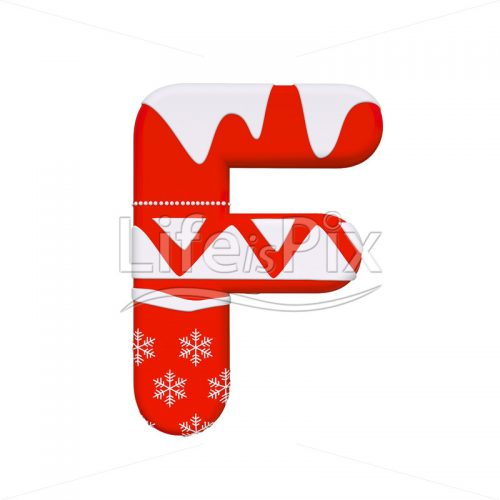 Santa Claus letter F – Capital 3d character – Royalty free stock photos, illustrations and 3d letters fonts