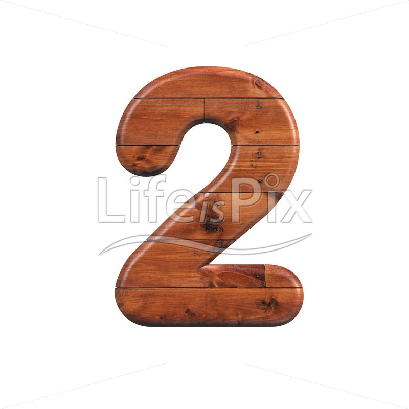 wooden plank digit 2 –  3d numeral – Royalty free stock photos, illustrations and 3d letters fonts