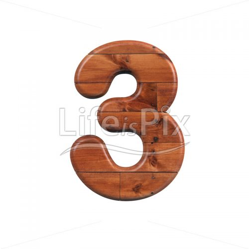wooden plank digit 3 –  3d numeral – Royalty free stock photos, illustrations and 3d letters fonts