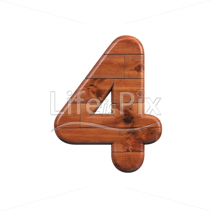 wooden plank digit 4 –  3d numeral – Royalty free stock photos, illustrations and 3d letters fonts