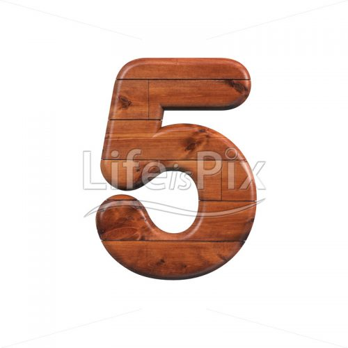 wooden plank digit 5 –  3d numeral – Royalty free stock photos, illustrations and 3d letters fonts
