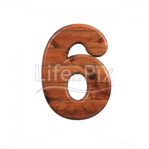 wooden plank digit 6 –  3d numeral – Royalty free stock photos, illustrations and 3d letters fonts