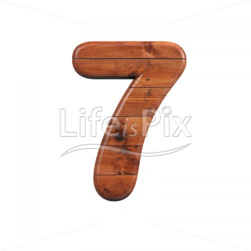 wooden plank digit 7 –  3d numeral – Royalty free stock photos, illustrations and 3d letters fonts