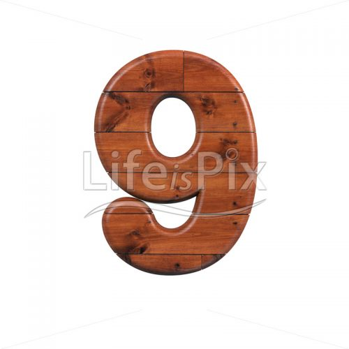 wooden plank digit 9 –  3d numeral – Royalty free stock photos, illustrations and 3d letters fonts